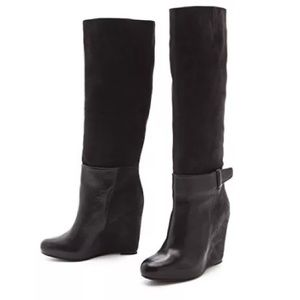 Black leather VINCE GRETA WEDGE BOOTS